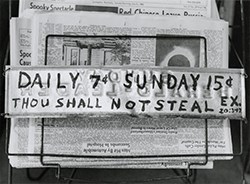 Van Deren Coke, Thou Shalt Not Steal, 1963. Gelatin silver print, 6 1/16 x 8 1/4 in. (15.4 x 21 cm). The Art Museum at the University of Kentucky, Lexington.