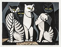 Inagaki Tomoo (Japanese, 1902–1980), Cat Gathering (Night), 1957, color woodcut, The Howard and Caroline Porter Collection, 1990.427